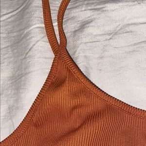 Dark Orange ribbed tank top